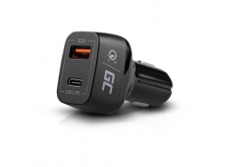 Chargeur de voiture USB-C Power Delivery + USB Quick Charge 3.0 Green Cell