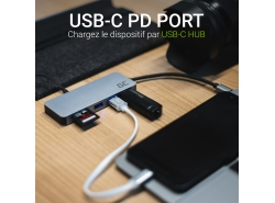 HUB Adaptateur Green Cell USB-C 7 en 1 (USB-C, USB 3.0, 2xUSB 2.0, HDMI 4K, microSD, SD) avec Power Delivery et Samsung DeX