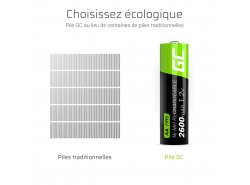 2x piles AA rechargeables 2600mAh HR6 Green Cell