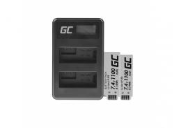 Green Cell ® 2x Batterie LP-E8 et Chargeur LC-E8 pour Canon Rebel T2i, T5i, EOS 600D, 550D, 650D, 700D, Kiss X5, X4, X6