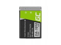 Green Cell ® Batterie NB-13L pour Canon PowerShot G5 X, G7 X, G7 X Mark II, G9 X, SX620 HS, SX720 HS, SX730 HS 3.6V 1010mAh