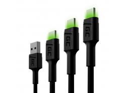 Set 3x Câble USB Green Cell GC Ray - USB-C 30cm, 120cm, 200cm, LED verte, charge rapide Ultra Charge, QC 3.0