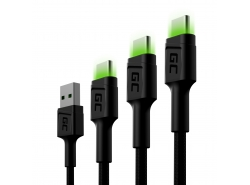 Set 3x Green Cell GC Ray USB-C Cable 30cm, 120cm, 200cm avec rétro-éclairage LED vert, charge rapide UC, QC 3.0