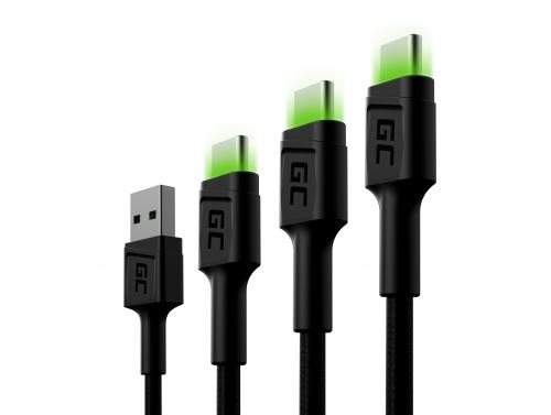 Set 3x Green Cell GC Ray USB-C Cable 30cm, 120cm, 200cm avec rétro-éclairage LED vert, charge rapide UC, QC 3.0