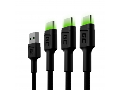 Set 3x Green Cell GC Ray USB-C 200cm Cable avec rétro-éclairage LED vert, charge rapide Ultra Charge, QC 3.0