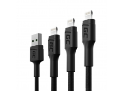Set 3x Câble USB Green Cell GC Ray - Lightning 30cm, 120cm, 200cm pour iPhone, iPad, iPod, LED blanche, charge rapide