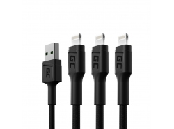 Set 3x Câble USB Green Cell GC Ray - Lightning 120cm pour iPhone, iPad, iPod, LED blanche, charge rapide