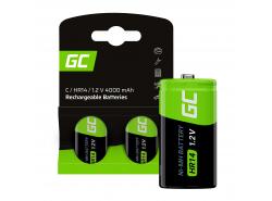 Batteries 2x C R14 HR14 Ni-MH 1.2V 4000mAh Green Cell