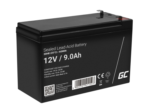 Green Cell® Batterie AGM 12V 9Ah accumulateur pour UPS Système Batterie de secours Batterie de résérve