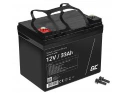 Green Cell® Batterie AGM 12V 33Ah accumulateur pour Photovoltaïque Caravane Energie Solaire