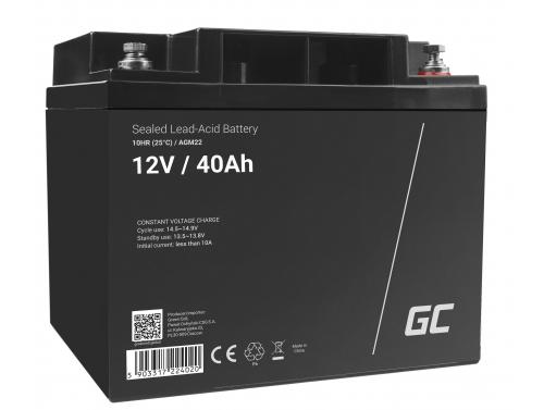 Green Cell® Batterie AGM 12V 40Ah accumulateur au Gel tondeuse scooter bateau de pêche Tracteur à gazon