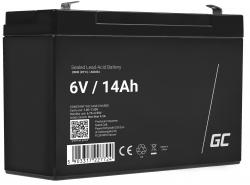 Green Cell® Batterie AGM 6V 14Ah accumulateur au Gel Jouets Installations d'alarme Véhicules pour enfants