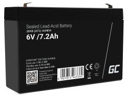 AGM Batería Gel Plomb 6V 7.2Ah Sans entretien Green Cell pour tondeuse à gazon et tracteur