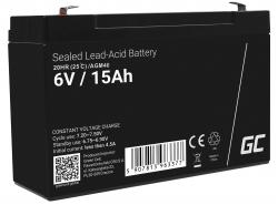 AGM Batería Gel Plomb 6V 15Ah Sans entretien Green Cell pour l'alarme et l'éclairage