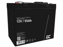 AGM Batería Gel Plomb 12V 55Ah Sans entretien Green Cell pour bateau et dériveur