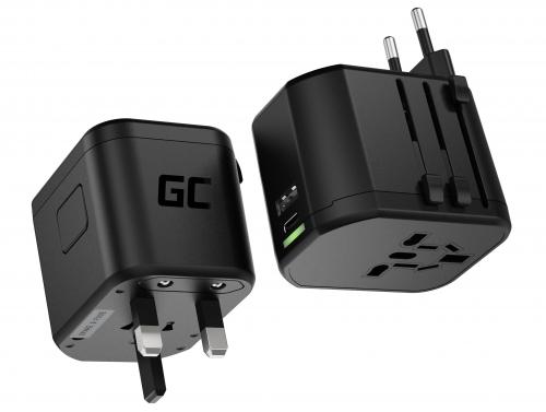 Green Cell GC TripCharge PRO Adaptateur de Voyage Universel avec USB-A Ultra Charge et USB-C Power Delivery 18W pour UK/US/AU/EU