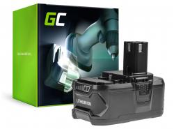 Batterie  Green Cell (6Ah 18V) ONE+ RB18L50 RB18L25 pour RYOBI R18AG0 R18JS0 R18PDBL RCD18022L RID1801M RMT1801M