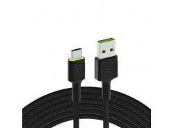 Cable Green Cell Ray USB-A - USB-C Green LED 1,2m with support for Ultra Charge QC3.0 fast charging