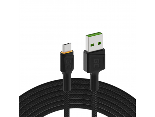 Câble Green Cell Ray USB-A - MicroUSB Orange LED 200cm avec support pour charge rapide Ultra Charge QC 3.0