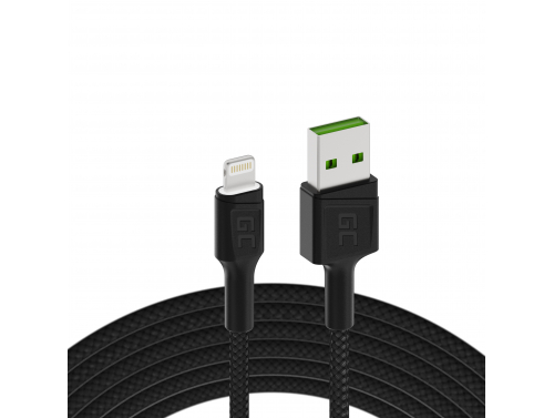 Green Cell GC Ray USB - Câble Lightning 200cm pour iPhone, iPad, iPod, LED blanche, charge rapide