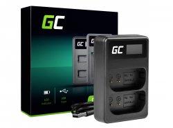 Chargeur double Green Cell ® LI-50C pour Olympus LI-50B, SZ-15 SZ-16 Tough 6000 8000 TG-810 TG-820 TG-830 TG-850 VR-370 XZ-1